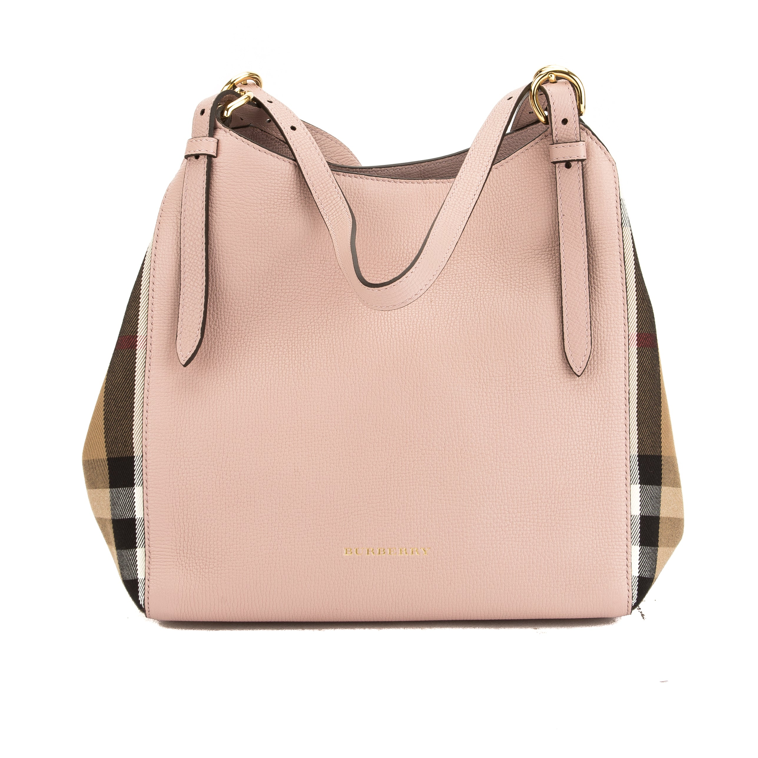 18490b59ffa Burberry Pale Orchid Leather and House Check Small Canter Bag New with Tags