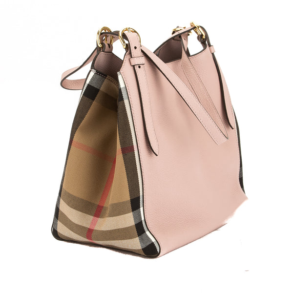 a4ec7517e8d ... Burberry Pale Orchid Leather and House Check Small Canter Bag (New with  Tags) ...