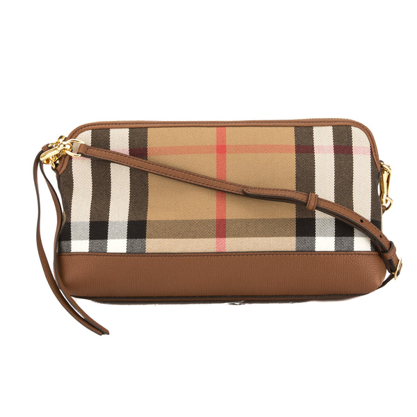 490556a151 Burberry Tan Leather and House Check Abingdon Clutch Bag (3647004 ...