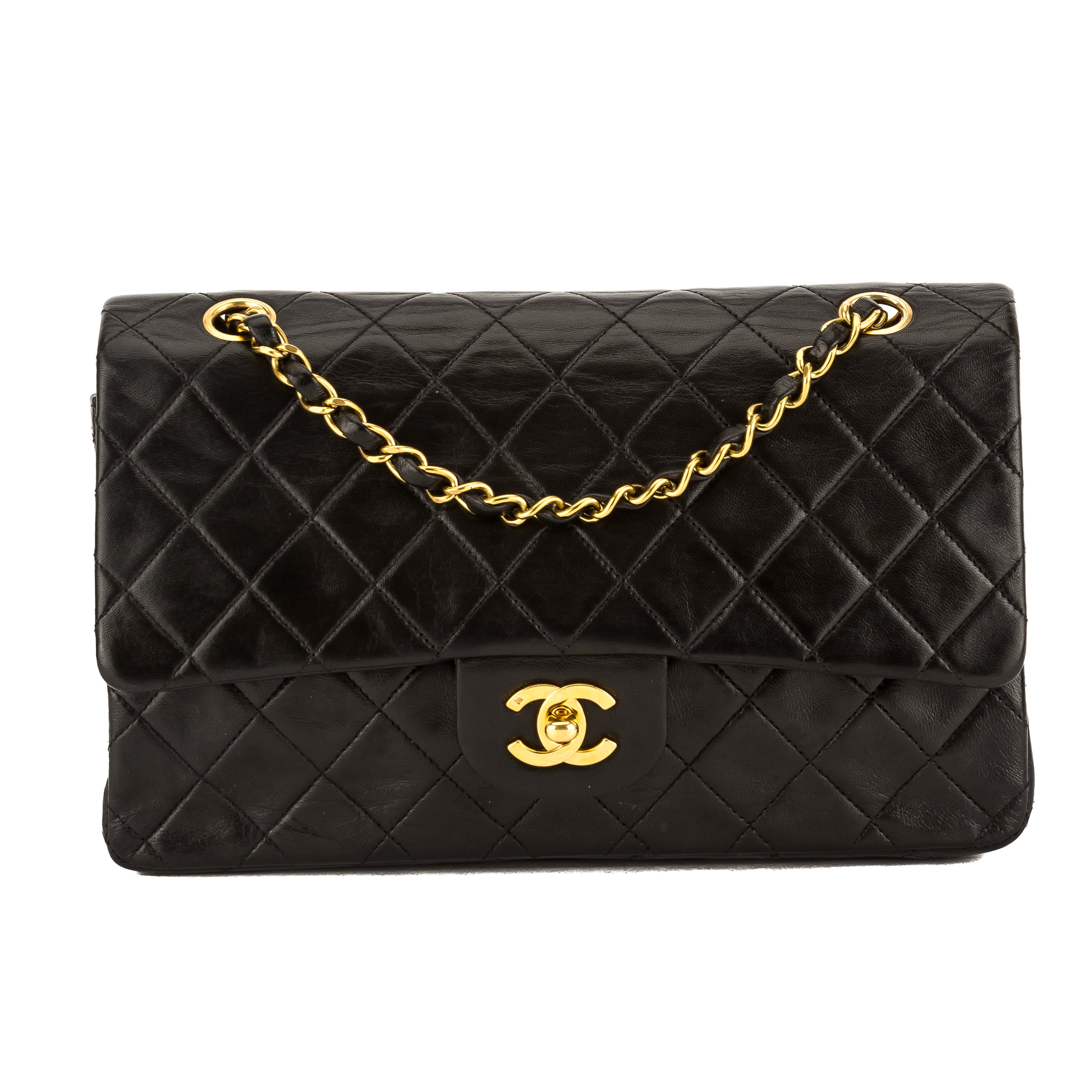 1742bf0daac694 Chanel Black Quilted Lambskin Leather 2.55 Medium Double Flap Bag Pre Owned