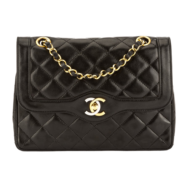 a6189576ca92fc Chanel Black Quilted Lambskin Leather 2.55 Small Double Flap Bag Pre Owned