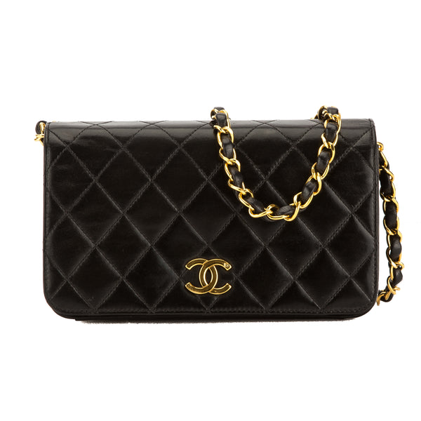 Chanel Black Quilted Lambskin Leather Mini Classic Flap Bag (Pre Owned)