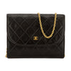 Chanel Black Quilted Lambskin Leather Shoulder Pochette Bag (Pre Owned)