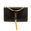 Saint Laurent Black Crocodile Embossed Leather Medium Kate Tassel Satchel (New with Tags)
