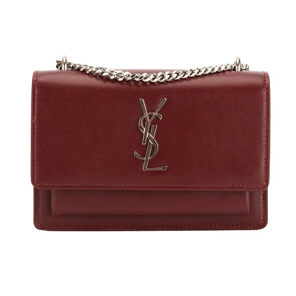 Saint Laurent Dark Red Grained Leather Classic Medium Kate Satchel (New with Tags)