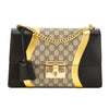 Gucci Black/Metallic Gold Leather GG Supreme Canvas Padlock Shoulder Bag (New with Tags)