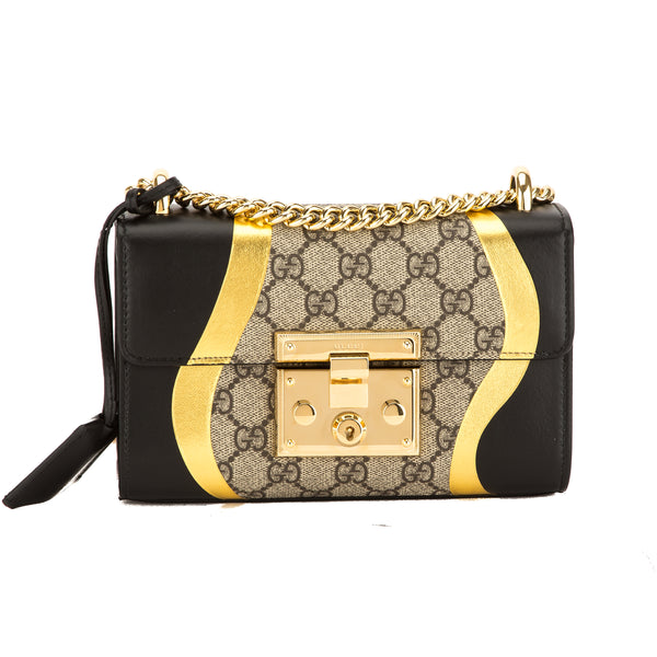 d3cef4487a7c Gucci Black/Metallic Gold Leather GG Supreme Canvas Medium Padlock Shoulder  Bag 3659004