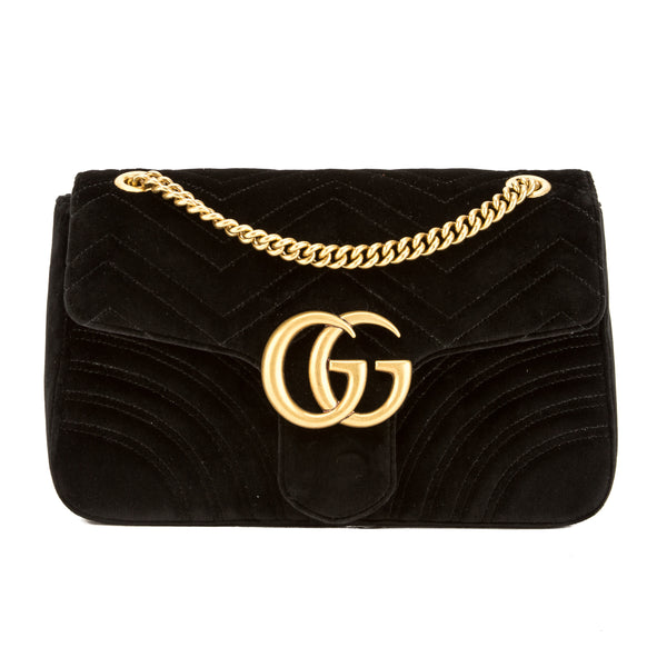 1b0c9ea777a8 Gucci Black Velvet GG Marmont Matelasse Medium Shoulder Bag New with Tags