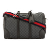 Gucci Black Leather GG Supreme Canvas Carry-on Duffle Bag (New with Tags)