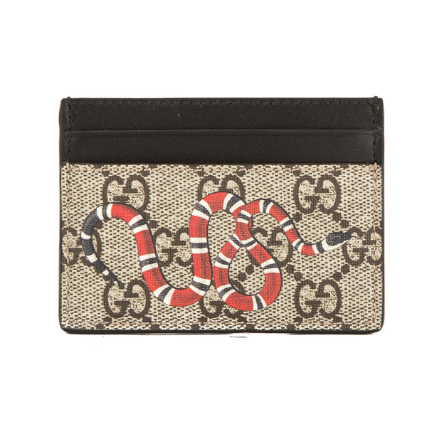a455d5317413 Gucci GG Supreme Canvas Kingsnake Print Card Case (New with Tags ...
