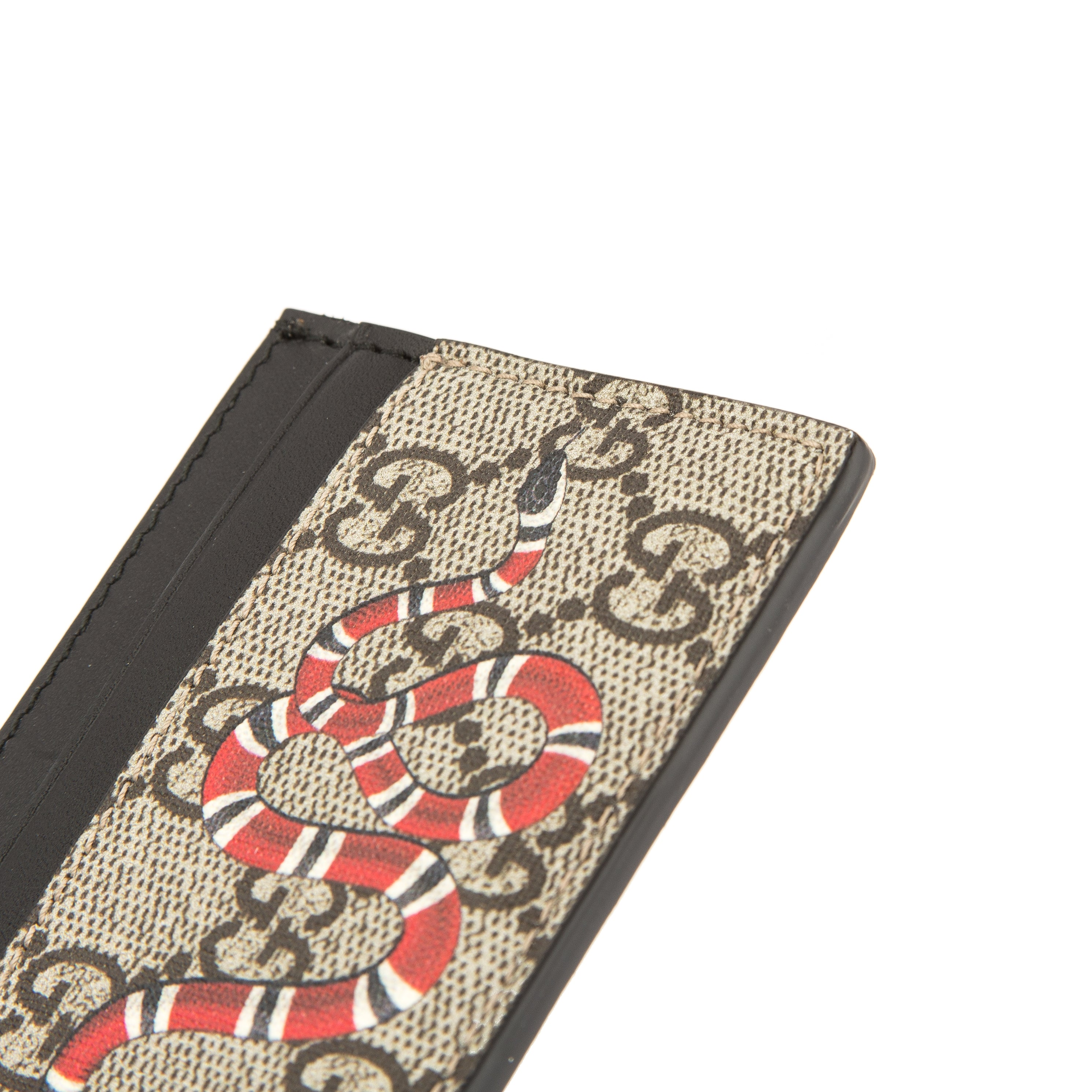 Gucci GG Supreme Canvas Kingsnake Print Card Case (New with Tags ...