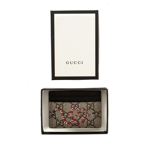 3b47fc3198140b ... Gucci GG Supreme Canvas Kingsnake Print Card Case (New with Tags) ...