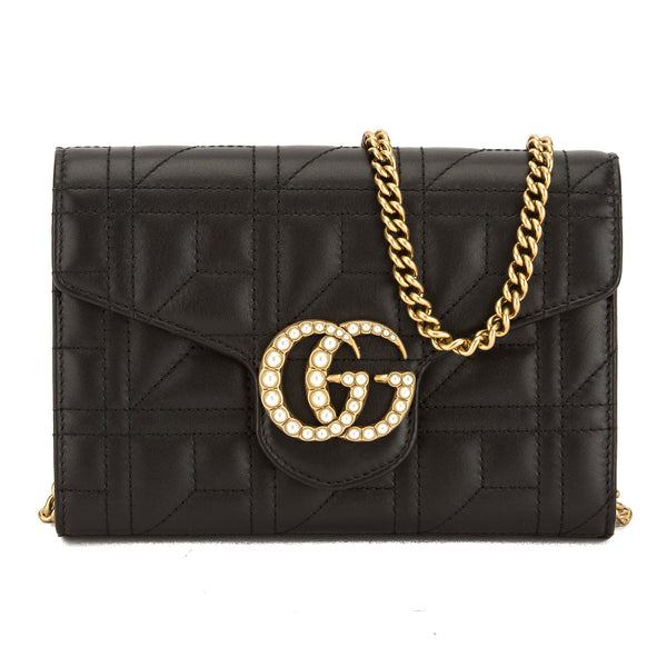 42d6801773a Gucci Black Matelasse Leather GG Marmont Mini Bag (New with Tags ...