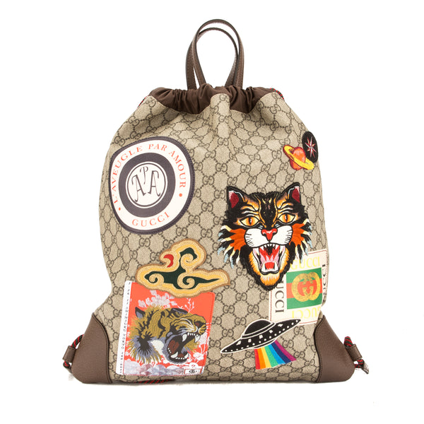 f5dbe88c2cf149 Gucci Soft GG Supreme Courrier Drawstring Backpack (New with Tags ...