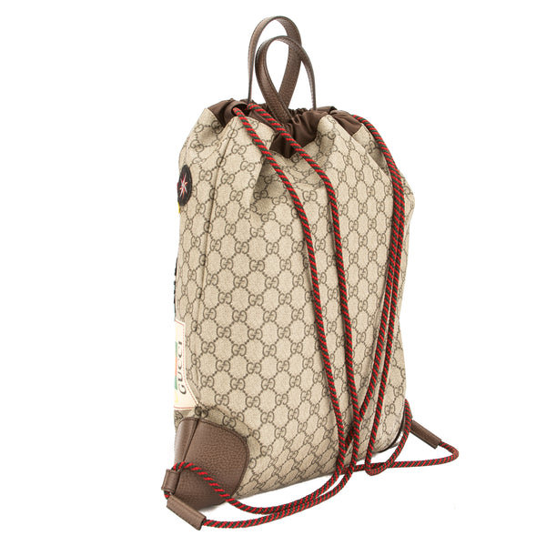 4a79989792f1 Gucci Soft GG Supreme Courrier Drawstring Backpack (New with Tags ...