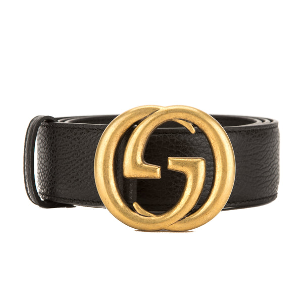 Gucci Black Leather Belt With Interlocking G Buckle New