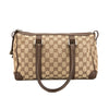 Gucci Brown Leather GG Monogram Canvas Top Handle Bag (Pre Owned)
