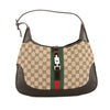Gucci Black Leather GG Supreme Canvas Jackie Bag (Pre Owned)