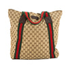 Gucci GG Monogram Canvas Web Tote Bag (Pre Owned)