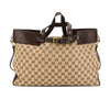 Gucci Brown Leather GG Monogram Canvas Tote Bag (Pre Owned)