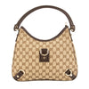 Gucci Brown Leather GG Supreme Canvas Shoulder Bag (Pre Owned)