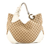Gucci White Leather GG Monogram Canvas Large Double G Bag (Pre Owned)