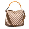 Gucci Brown Leather GG Monogram Canvas Bamboo Tote Bag (Pre Owned)