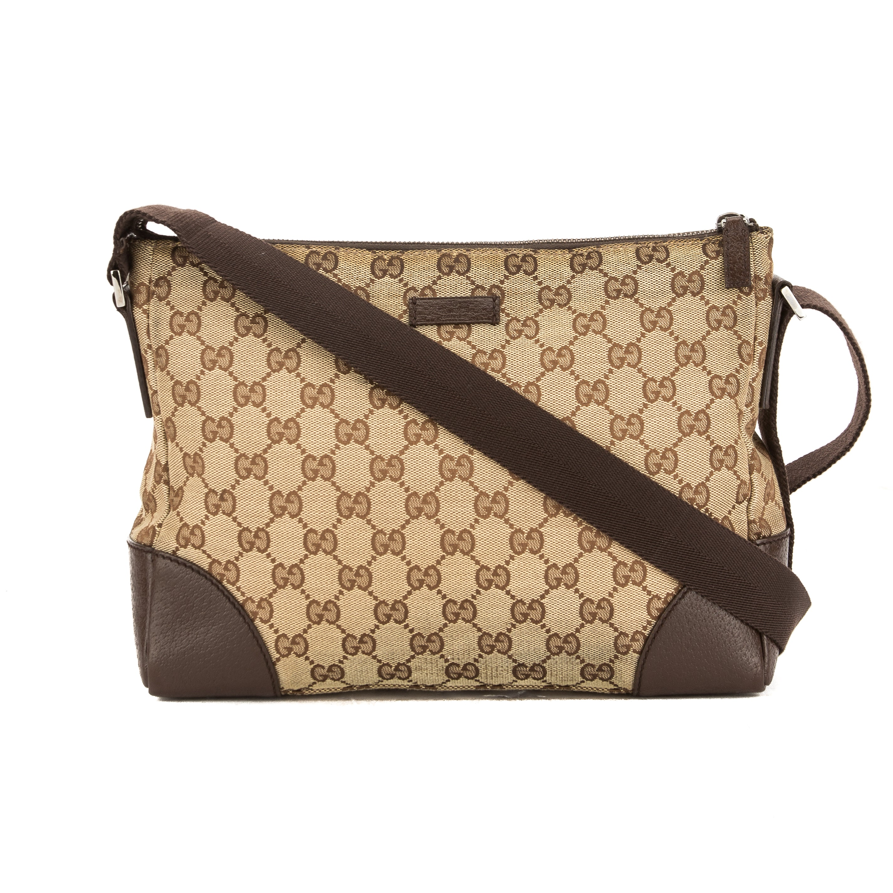 6c2d22196c05 Gucci Brown Leather GG Monogram Canvas Shoulder Bag (Pre Owned ...