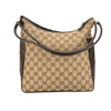 Gucci Brown Leather GG Monogram Canvas Guccisima Shoulder Bag (Pre Owned)