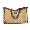 Gucci Brown Leather GG Monogram Canvas Abbey D-Ring Tote (Pre Owned)