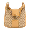 Gucci Beige Leather GG Monogram Canvas Hobo Bag (Pre Owned)