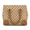 Gucci Tan Leather GG Monogram Canvas Guccisima Tote (Pre Owned)