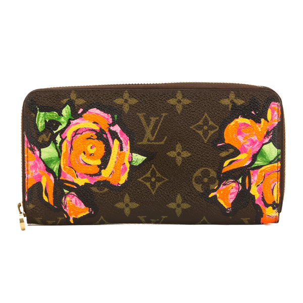 fe8aa4aa1ed3 Louis Vuitton Roses Monogram Canvas Stephen Sprouse Zippy Long Wallet Pre  Owned
