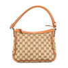 Gucci Tan Leather GG Monogram Canvas Tote Bag (Pre Owned)
