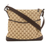 Gucci Perforated Leather GG Monogram Canvas Shoulder Bag (Pre Owned)