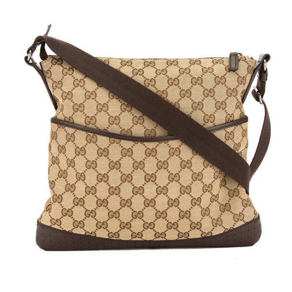 571b0a210716 Gucci Perforated Leather GG Monogram Canvas Shoulder Bag (Pre Owned ...