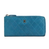 Chanel Blue Caviar Leather Long Zip Around Wallet (Pre Owned)