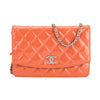 Chanel Pink Quilted Patent Leather Wallet On Chain WOC Bag (Pre Owned)