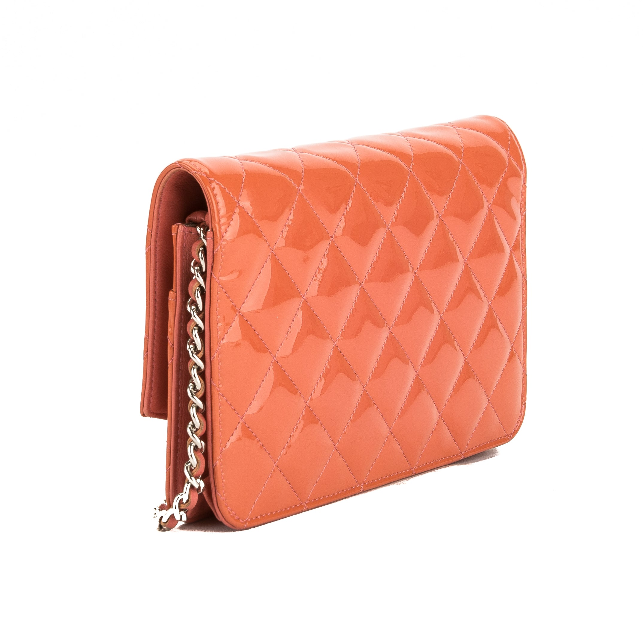 8e637c1fb33c Chanel Pink Quilted Patent Leather Brilliant Wallet On Chain WOC Bag ( -  3684003 | LuxeDH