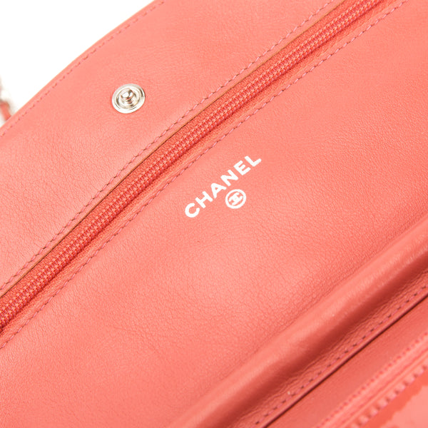 cc6f6c18096d ... Chanel Pink Quilted Patent Leather Brilliant Wallet On Chain WOC Bag (Pre  Owned) ...