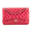 Chanel Fuchsia Quilted Patent Leather Jumbo Classic Flap Bag (Pre Owned)