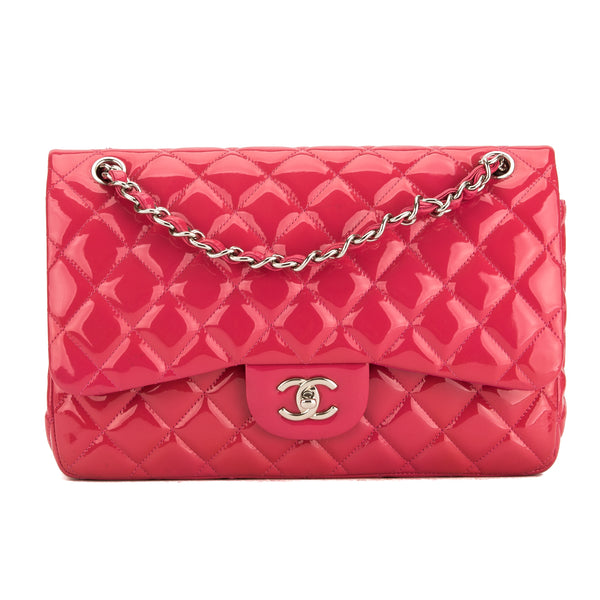 eac63d3d5b46 Chanel Fuchsia Quilted Patent Leather Jumbo Classic Flap Bag Pre Owned