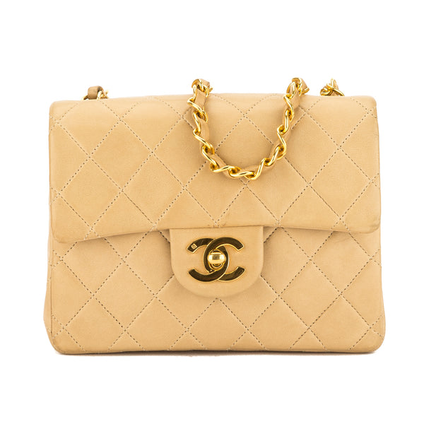 Chanel Beige Quilted Lambskin Leather Mini Single Flap (4001005)