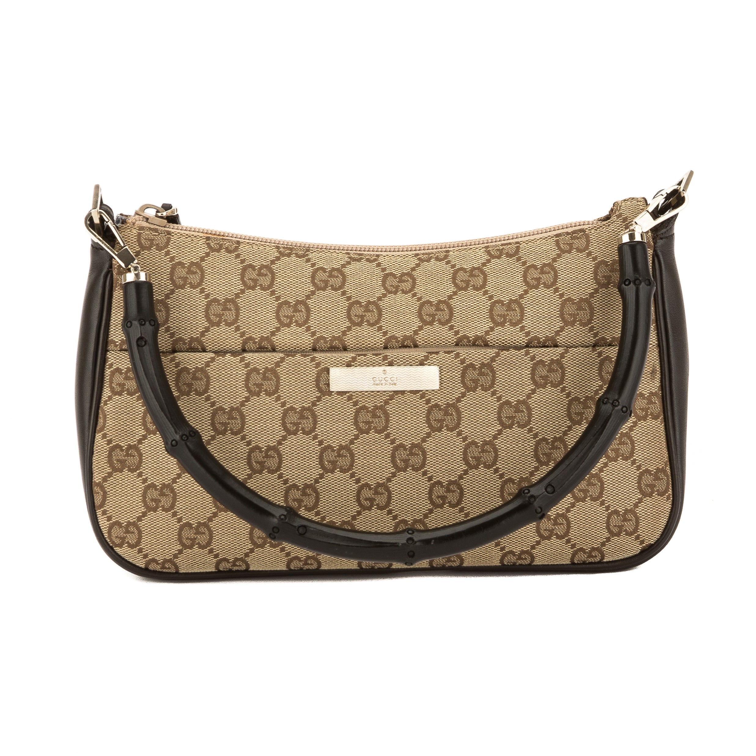 f952c902451a Gucci Brown Leather GG Monogram Canvas Bamboo Bag (Pre Owned ...