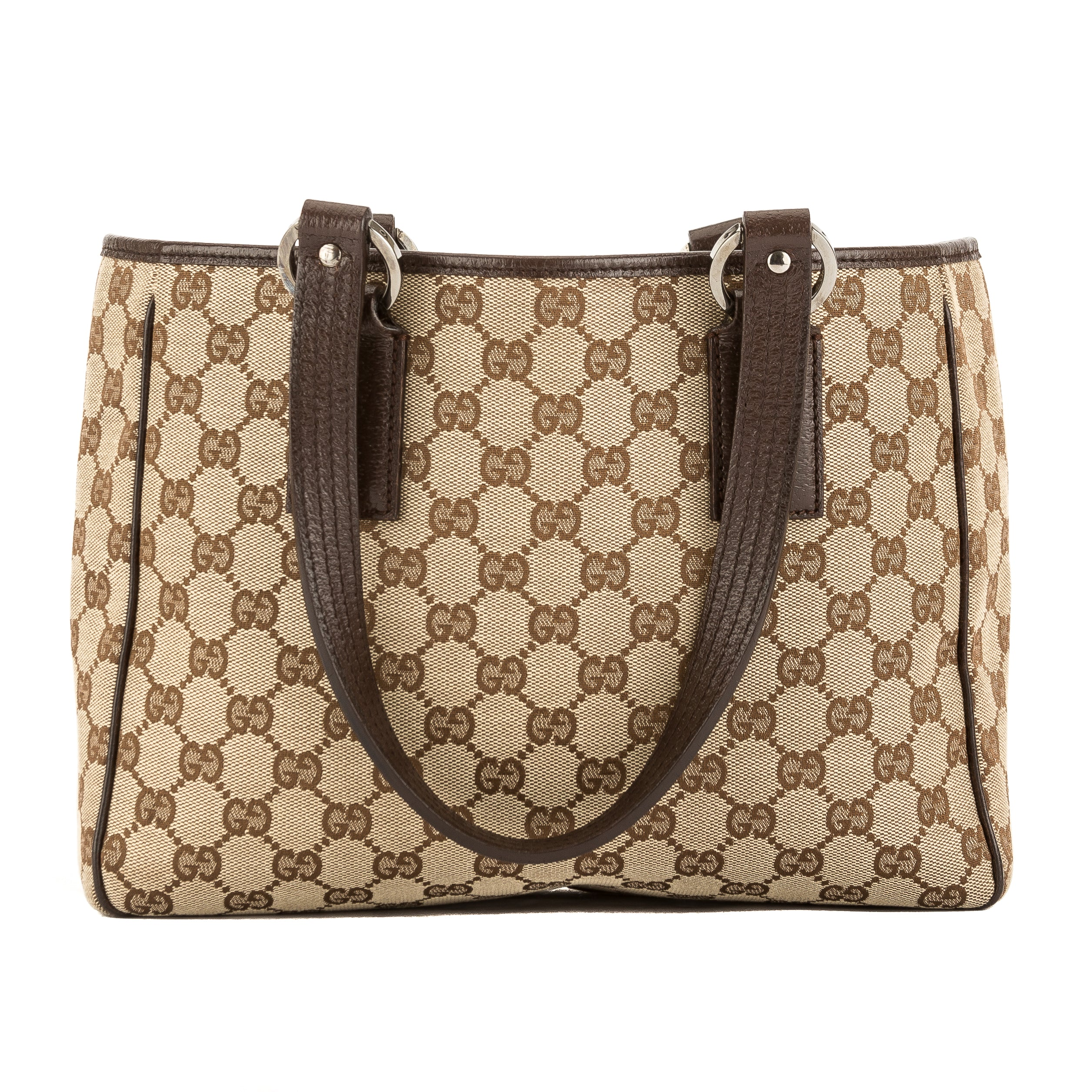 7f5a41f7084 Gucci Brown Leather GG Monogram Canvas Tote Bag (Pre Owned ...