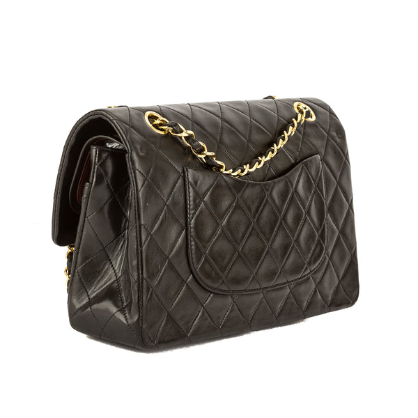 Chanel Black Quilted Lambskin Leather Medium Double Flap Bag (Pre ... : black quilted chanel handbag - Adamdwight.com