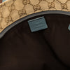 Gucci Light Blue Leather GG Monogram Canvas Web Tote Bag (Pre Owned)