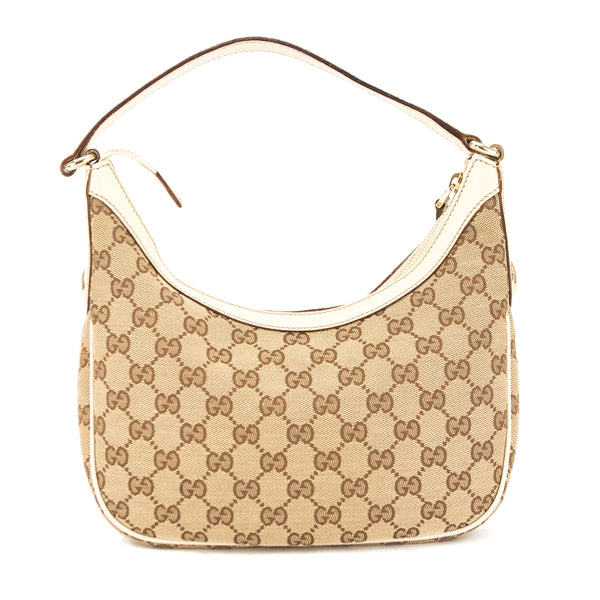 Gucci White Leather GG Jacquard Canvas Charmy Bag (Pre Owned ... 6603e93ac3350