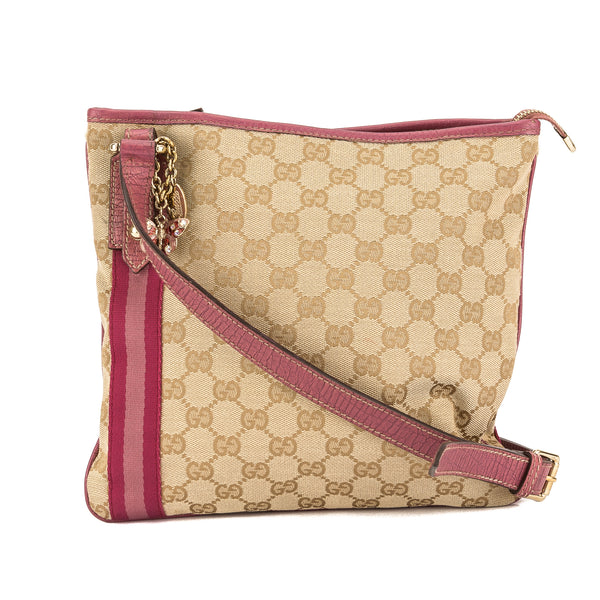 c96536aa98c Gucci Pink Leather GG Monogram Canvas Shoulder Bag (Pre Owned ...