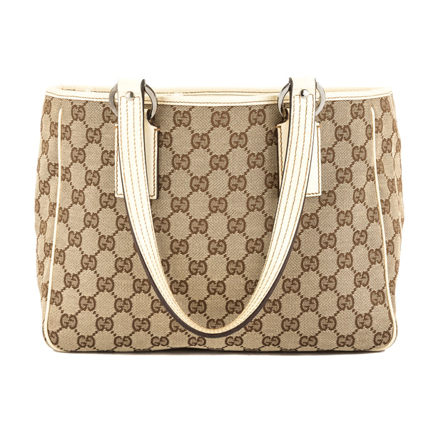 8e2cdbb4068a31 Gucci Creme Leather GG Monogram Canvas Tote Bag (Pre Owned ...